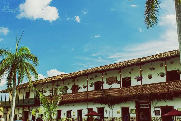 Buildings Culture Park Ville Antioquia Colors Urban Landscape Blue Sky Clouds Antique
