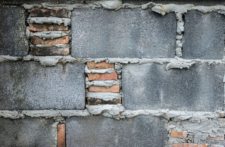 Old cement block with brick wall texture. Abrasive Antiques Architecture Backgrounds Brick Wall Building Exterior Built Structure Close-up Day Detail Materials No People Old Outdoors Raw Materials Stonework Surface Level Vintage Wall - Building Feature Weathered