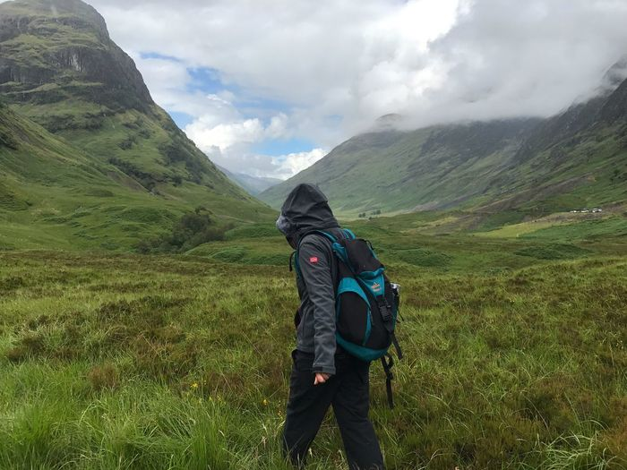 Mountain Backpack Nature Real People Hiking Sky Beauty In Nature Grass Lifestyles Walking Landscape Scenics Day Cloud - Sky Outdoors One Person Leisure Activity Hiker Tranquility Adventure Scotland Hiking Girl Action Activity
