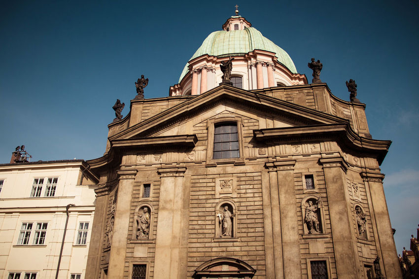 Beautiful Love Prague Architecture Building Building Exterior Built Structure Clear Sky Day Dome Low Angle View No People Outdoors Place Of Worship Religion Sky Spirituality Statue Travel Destinations
