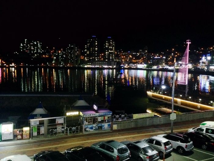 Relaxing Coffee Drinking A Latte Night View Songdo,busan Beach