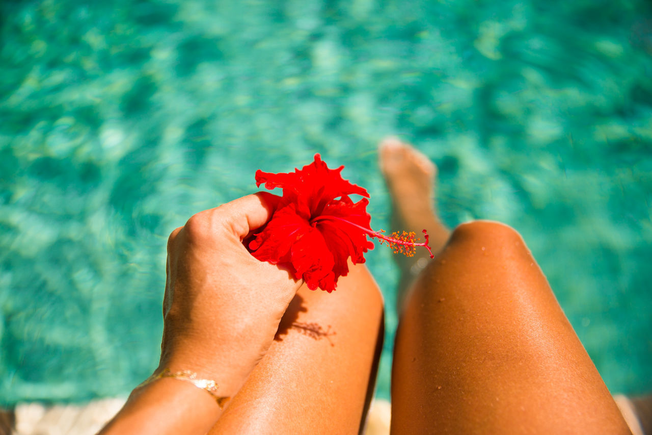 water, low section, human leg, leisure activity, real people, red, flower, sunlight, human body part, nature, beauty in nature, outdoors, close-up, women, day, lifestyles, barefoot, swimming pool, relaxation, nail polish, vacations, sea, summer, two people, beach, freshness, young women, adult