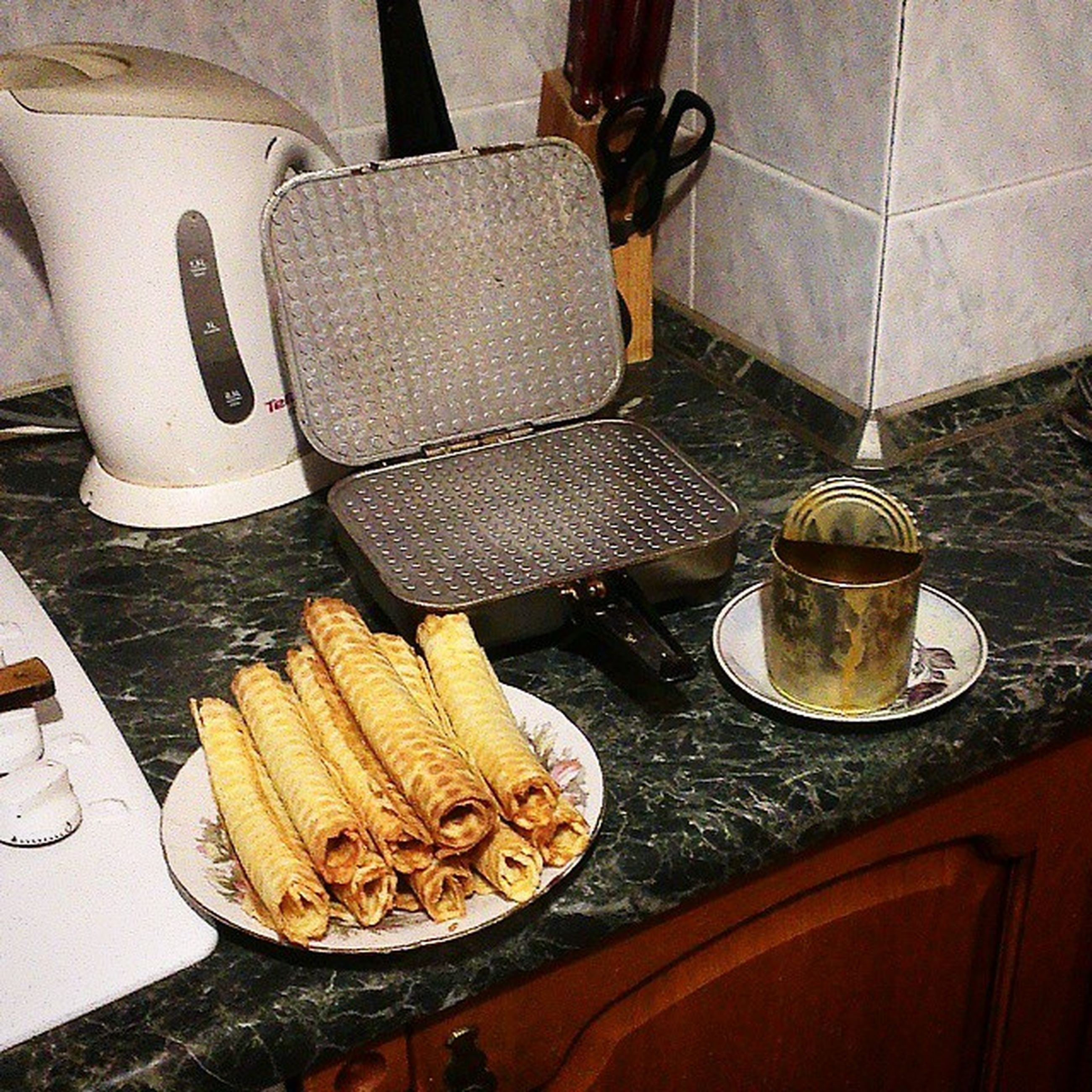indoors, table, still life, high angle view, food and drink, chair, plate, kitchen utensil, no people, close-up, spoon, fork, empty, absence, arrangement, food, wood - material, domestic kitchen, coffee cup, bowl