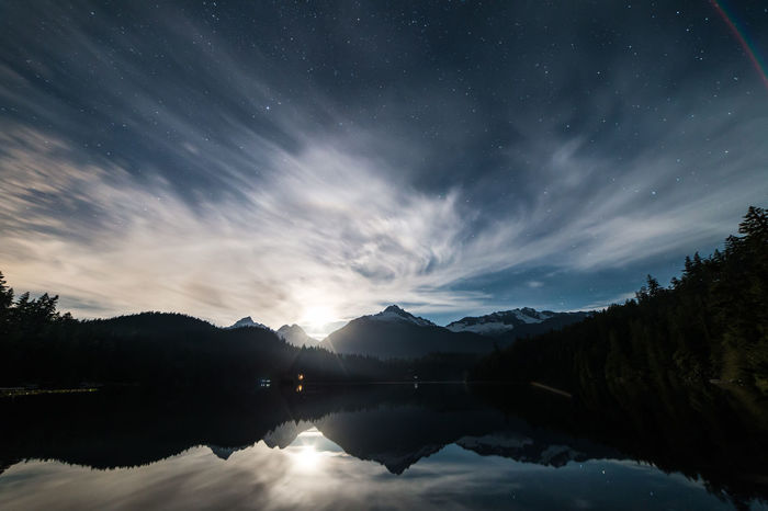 Astronomy Beauty In Nature Cloud - Sky Cold Temperature Galaxy Lake Landscape Long Exposure Moon Moonset Mountain Mountain Range Natural Parkland Nature Night Outdoors Reflection Sky Space Star - Space Tranquility Travel Tree Water