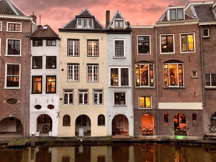 Canal Houses in the centre of Utrecht on the Oudegracht Canal. Canal Oudegracht Utrecht Europe Trip Canal Houses Dutch Culture Holland Netherlands Building Exterior Built Structure Architecture Window Building Residential District Sky City No People Outdoors Travel Destinations House History Façade