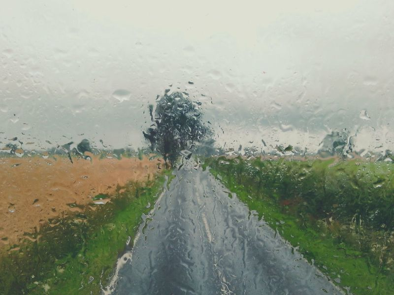 Rainy Day travelling. .. Raindrops Norfolk Uk Window Glass Bus Journey Double Decker Bus Road Trees Countryside