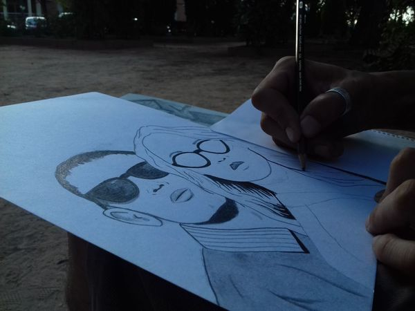 Sketch People Artist Paper Outdoors Day Human Body Part Beautiful Drawing Draw Paint Park Talented Brother Boceto