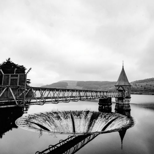 Travel Destinations Water History Outdoors Architecture Cloud - Sky Sky No People Lake Building Exterior Day Built Structure Winter Nature Watermill Blackandwhite Black & White Reservoir Wales Reflection