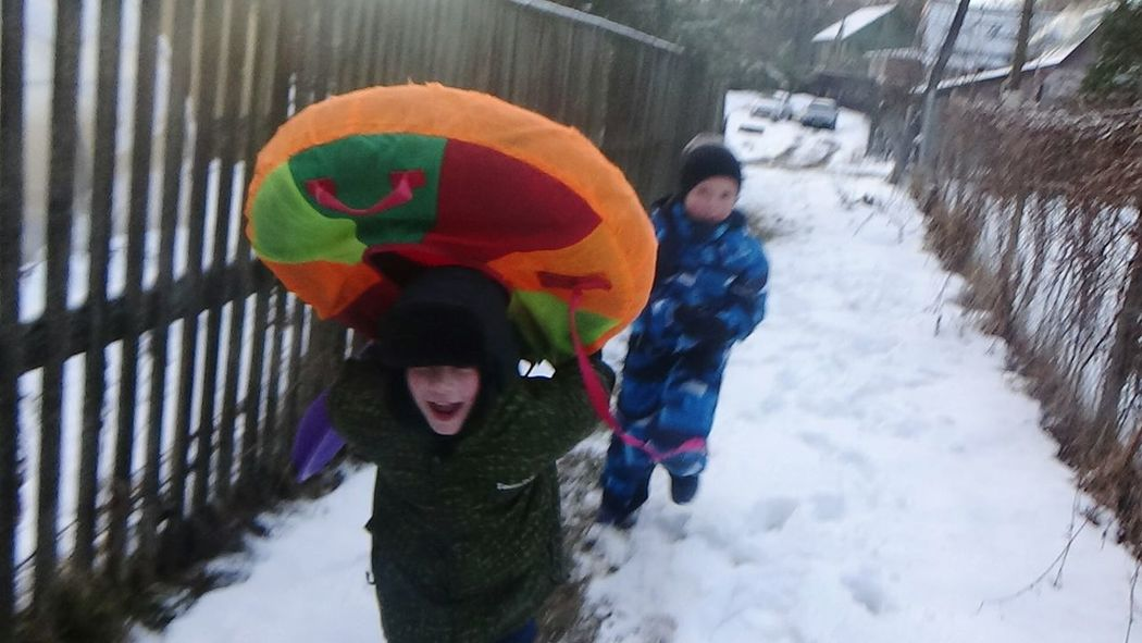 Winter Boys Cold Temperature Real People Childhood Warm Clothing Outdoors Day People Snowing
