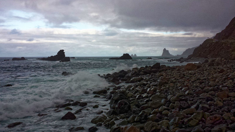Küste im Norden von Teneriffa Sea Rock Water Cloud - Sky Sky Solid Beach Rock - Object Land Beauty In Nature Motion Nature Wave Horizon Over Water Scenics - Nature No People Day Tranquility Pebble Power In Nature Outdoors Mood Fotoexpeditionen Background Nature_collection