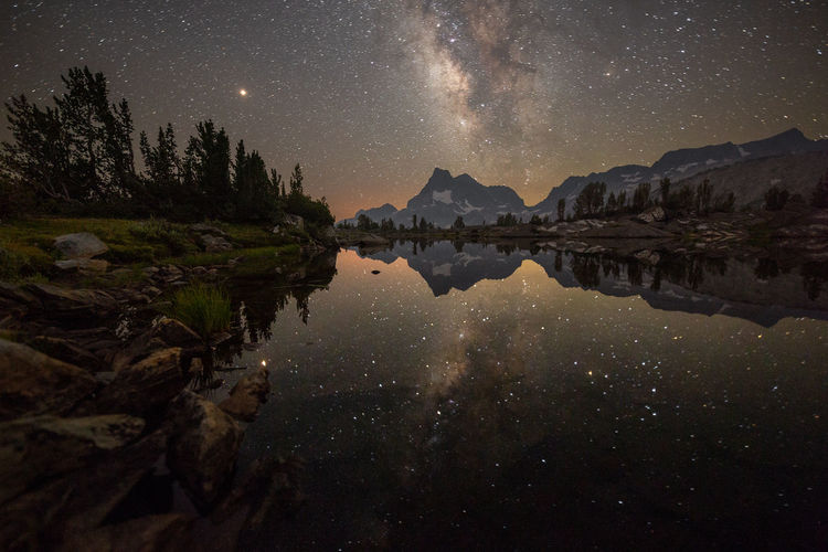Our galaxy would look same | JMT DAY 2 - MILKY WAY OVER BANNER PEAK SEEN FROM ISLAND PASS Milky Way over Banner Peak seen from Island Pass: JMT201802003 The night was calm, and the sky was clear of smoke. The faint Milky Way got slowly brighter as the sky got darker. Thousands of stars were strewn across the heavenly body. Soon Mars followed, and its bright reflection in the lake was just unmistakable. Mars is the planet that everyone who is into us becoming an interplanetary species is looking at lately. But, let alone the fact that we wouldn't be able to breathe or walk around like we do here on earth, there is no water that we can call lakes and walk around. It is projected that it would take at least six months to travel to Mars one way. And space radiation is considered number one risk in sending humans to Mars at this point. I understand that it is the first step to become an interplanetary species, followed by more space travels and planet discoveries in the future, although many will be born on other planets once we become a true interplanetary species, I wonder if it is truly worth leaving everything behind. But one thing is certain. Our galaxy would look the same when it were seen from Mars. Island Pass, Inyo National Forest, CA Banner Peak Island Pass Mars Astronomy Beauty In Nature Galaxy Lake Long Exposure Milky Way Mountain Nature Night Night Sky No People Outdoors Reflection Scenics - Nature Sky Space Star Star - Space Tranquil Scene Tranquility Water Wilderness
