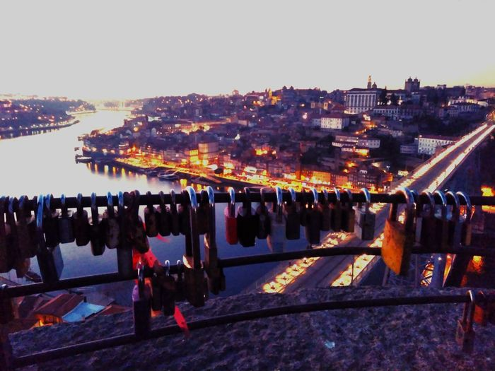 Dusk Celebration Outdoors Sky City No People Water Night Cityscape Nature Messageonthebridge Messages From The Universe Oporto, Portugal City InTheBridge Built Structure Transitional Moments Locks Detailshot Details In Close Up Sunset Oporto City Stories From The City