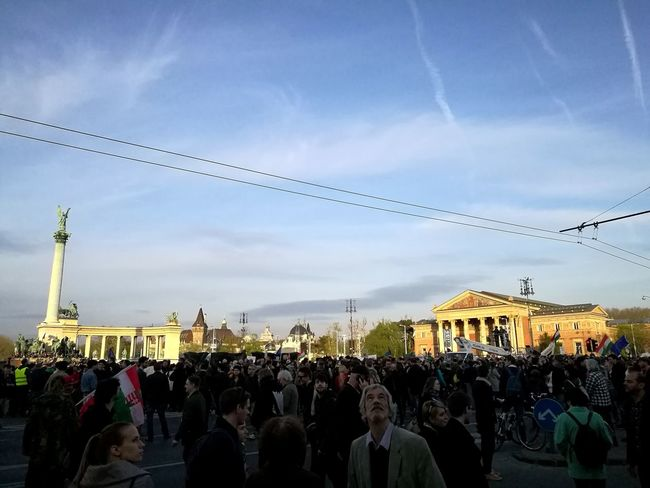 Protest continues Large Group Of People City Sky Istandwithceu Togetherness