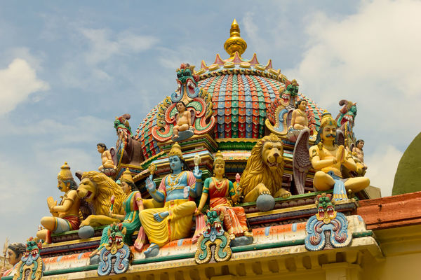 Hinduism Architecture Art And Craft Chinese Dragon Creativity Day Hindu Temple Human Representation Idol Low Angle View Male Likeness Multi Colored No People Outdoors Religion Sculpture Sky Spirituality Statue Temple