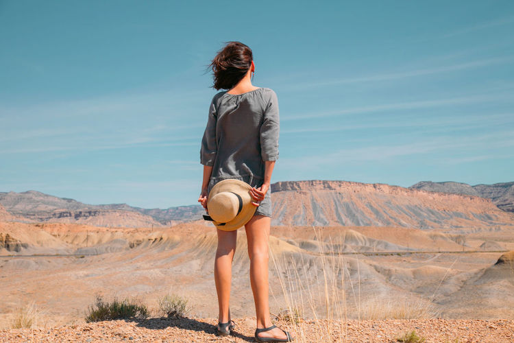 Woman in a desert. travel and adventure.
