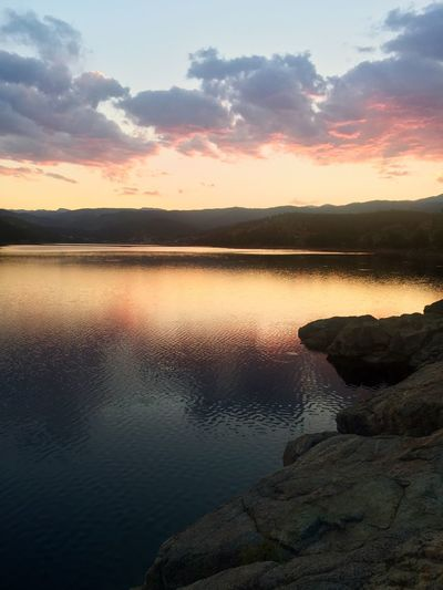 Sunset Beauty In Nature Nature Scenics Water Tranquil Scene Tranquility Reflection Evening Rocky Mountains Colorado Calm Meditation Night Nightfall Sky Lake Idyllic No People Rock - Object Outdoors Silhouette Cloud - Sky Landscape Day