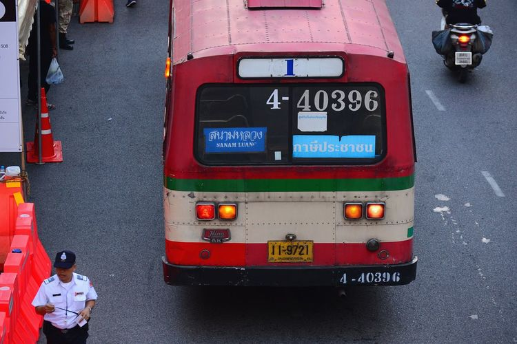 Transportation Day Outdoors Public Transportation Mode Of Transport Street City Life Road Thailand Bus BMTA Bus Old Bus Bus