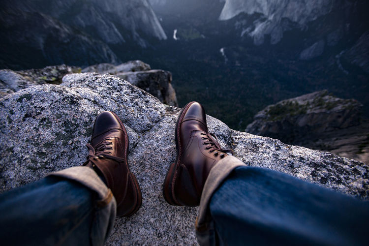 Boots California Day Fashion Human Body Part Human Leg Low Section Mountain Nature One Person Outdoors People Personal Perspective Real People Rock - Object Shoe Standing Style Yosemite National Park