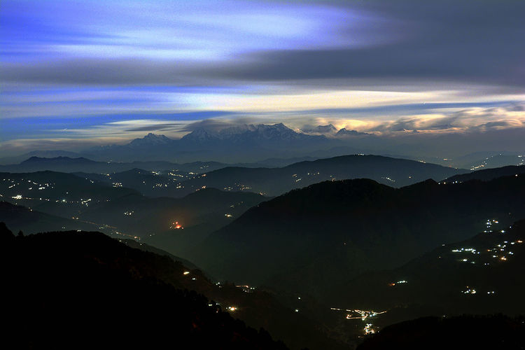Himalayan Range Himalayas Night Lights Night Beauty N The Moon Beauty In Nature Cloud - Sky Illuminated Mountain Mountain Peak Mountain Range Night Beauty Non-urban Scene Scenics - Nature Tranquil Scene Tranquility