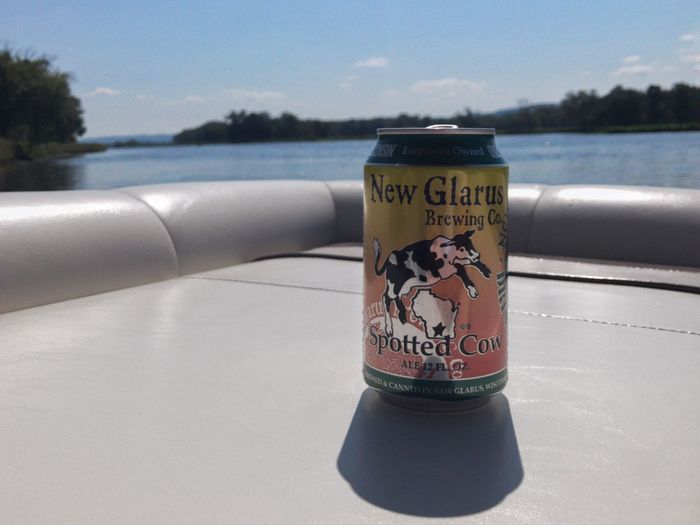 Beer Spotted Cow New Glarus Mississippi River La Crosse, Wi Summer On The River Bokeh Water Sky No People Nature Outdoors Day