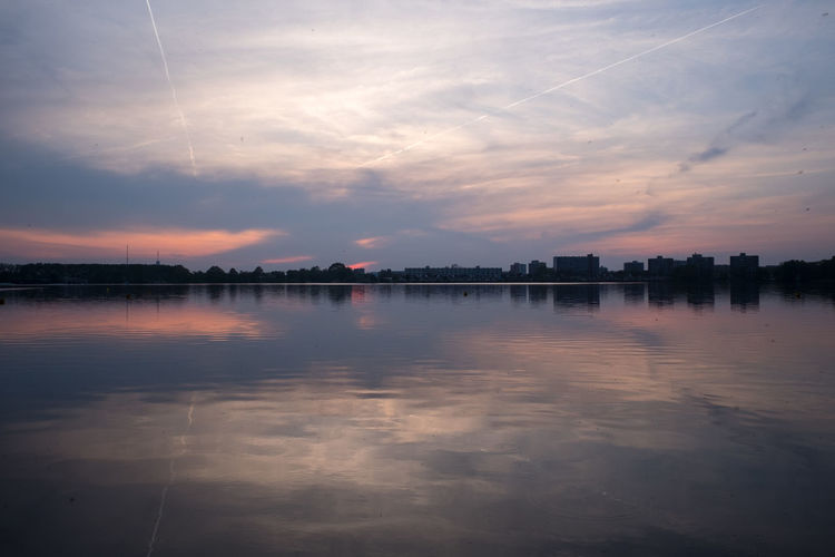 Zegerplas Sky Water Cloud - Sky Reflection Waterfront Sunset Tranquility No People Scenics - Nature Nature Beauty In Nature Tranquil Scene Architecture Lake Outdoors Built Structure Building Exterior Idyllic