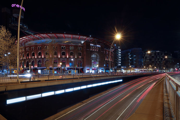 Arenas de Barcelona. Architecture Arenas De Barcelona Barcelona Catalunya Long Exposure Shot Architecture Building Exterior Built Structure City City Life High Street Illuminated Light Trail Long Exposure Mall Motion Night No People Outdoors Speed Street Street Light