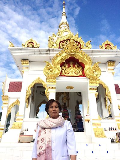 My mom😍😘 Religion Spirituality Architecture Building Exterior Real People One Person Lifestyles Place Of Worship Outdoors Statue Men Built Structure Day Sky