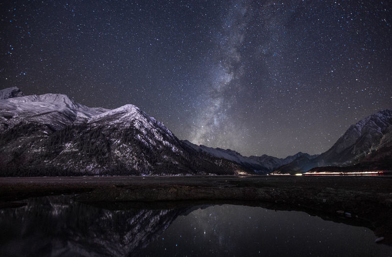 Mountain Star - Space Space Scenics - Nature Astronomy Galaxy Sky Beauty In Nature Lake Night Water Mountain Range Reflection Tranquility Tranquil Scene Star Field Nature Star Waterfront No People Milky Way Snowcapped Mountain Mountain Peak Tibet Reflection