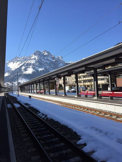 Switzerland Engelberg Titlis Titlis,Switzerland Train Station Snow Mountain Top Mountain Sunny Day