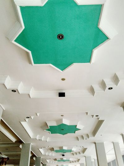 Backgrounds Shape Pattern Full Frame No People Green Color Close-up Day Ceiling Agung Raya Mosque Of Central Lombok