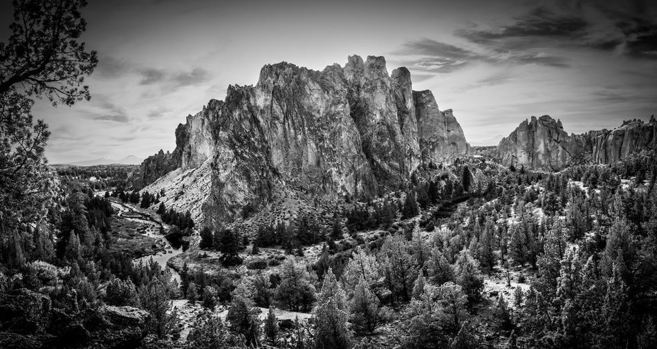 Smith Rock State Park in Central Oregon near Bend Beauty In Nature Black And White black and white friday Black And White Photography Cloud - Sky Day Environment Formation Land Landscape Landscape_photography Mountain Nature No People Non-urban Scene Outdoors Plant Rock Rock - Object Rock Formation Scenics - Nature Sky Tranquil Scene Tranquility Tree