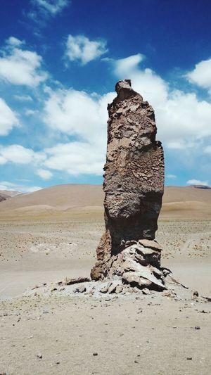 Standing alone/Salar de Tara Salar De Tara Chile♥ Rock Formation Desert Beauty Desert Landscape Sandy Lands Sky Amd Clouds Hot Day High Altitude