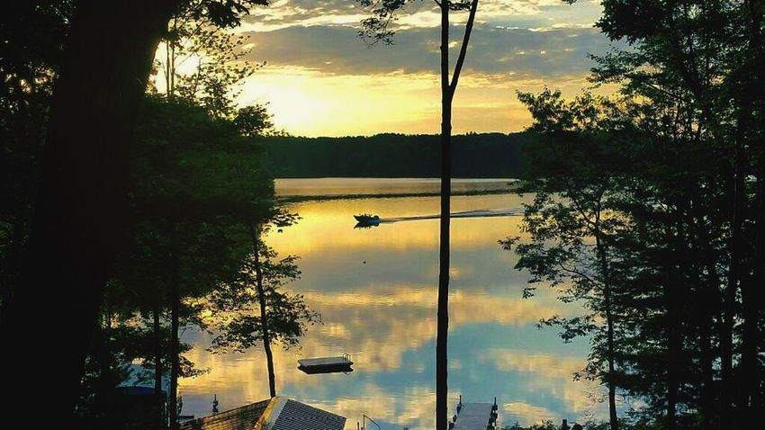 Boat Fishing Boat Water Water Reflections Trees Crystal Clear Opening Lake River Calm Sunrise Picture