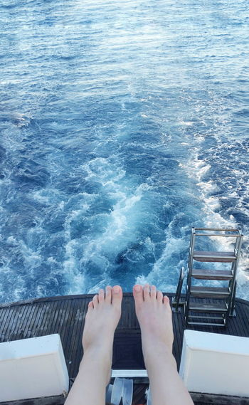 Boat ride Boat Travel Day Backgrounds Sea Water Blue Nature High Angle View Human Body Part Human Foot People Summer Day One Person Relaxation