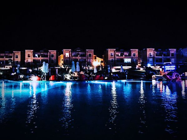 P O O L Adapted To The City Pool Night Light Reflection Water Reflections Blue Blue Landscape Egypt Illuminated Water All Blue Blue Water Ein El Sokhna