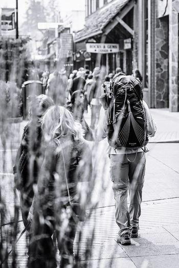solo backpacker in downtown Banff Pocket_bnw Bnw_diamond Bnw_captures Jj_blackwhite Bnw_demand Rsa_bnw Ptk_bnw Bw_photooftheday Bnw_mystery Loves_bnw Bwsquare Amateurs.bnw Ig_captures_bw Blackandwhite Monochrome Streetphotography Downtown Banff  Alberta Hiker City Friendship Full Length Men Happiness City Life Crowd City Street