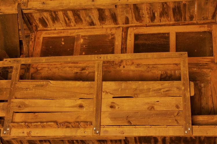 Full frame shot of wooden log cabin