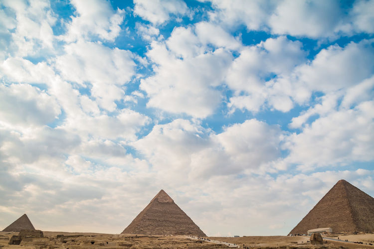 Sky Nature Day Outdoors Egypt Cairo Pyramids Giza Travel Trip Destination Ancient Structure Civilisation Old Pharaoh Cloud - Sky Architecture The Past Pyramid History Ancient Civilization Travel Destinations Built Structure Tourism