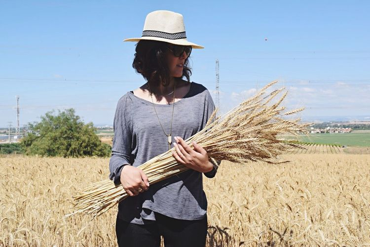 Girl Power Casual Clothing Wheat Wheat Field Israel Girl Young Women Field Growth Agriculture Spring Summer Holding Harvest Straw Day Landscape Nature Connected With Nature Profile Beauty In Nature Hat