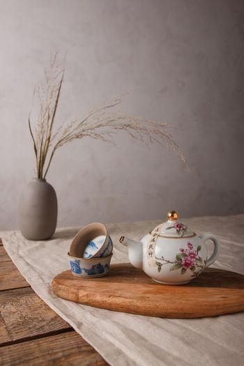 Tea light on table
