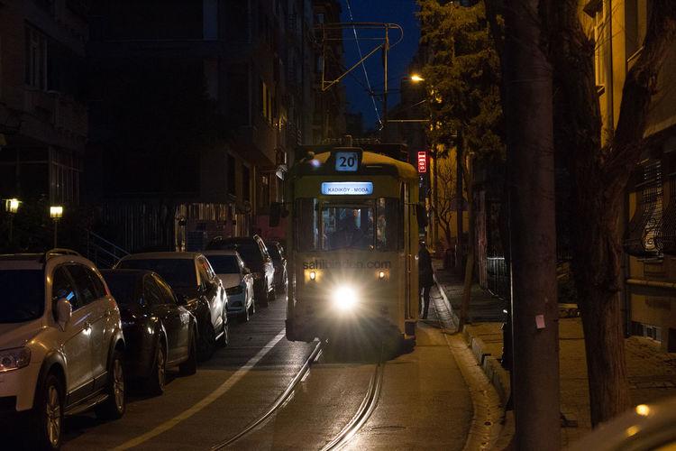 Kadiköy-Moda tramway City Street City At Night Light Rail Trolley Light Rail Train Light Rail Vehicle Night Tram, Streetcar Tramcar Trolley Car