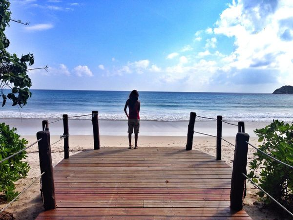 IPhoneography Girl On The Shore Beachphotography Nature Ocean Lonely Girl Beach And Sky Bridge The Tourist IPS2016Nature