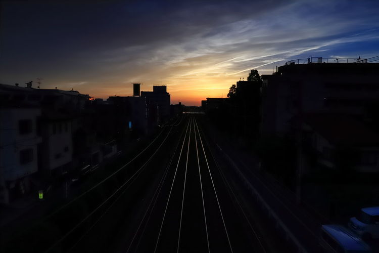 Sunset Track Rail Transportation Railroad Track Architecture Sky Built Structure Building Exterior Transportation Cloud - Sky City Public Transportation Nature No People Mode Of Transportation Train Building Silhouette Travel Outdoors Hanging Out Tadaa Community Hello World