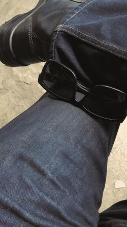 Blue Jeans and Leather Boots Sunglasses Sunshades Bluejeans Jeans Denimjeans Leather Shoes Boots Leatherboots Only Men One Man Only One Person People Adult Adults Only Human Body Part