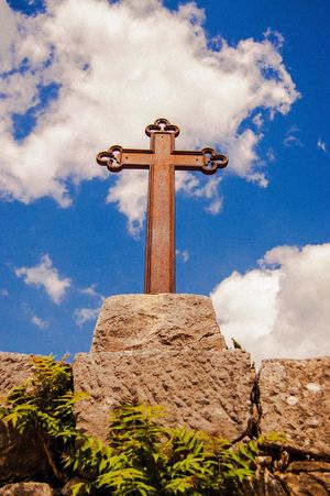Cross in the City Of Hum , Croatia Throughmyeyes Sky_ Collection Landmark Istria Istra Blue Sky White Clouds Rust Rusty Metal Metallic Rock Wall Faith Spirituality Catholic Metal Cross Outdoors Single Object No People
