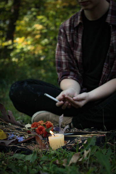 Burning Candle Green Smoking Spirituality The Week On EyeEm Wiccan Altar Cigarette  Day Flowers Forest Freshness Leisure Activity Lifestyles Nature No Face Outdoors Wicca  Wiccan Wiccan Ceremony