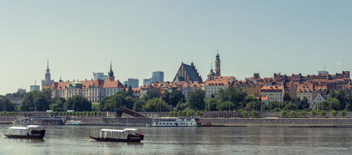 Old Town Poland Vistula Warsaw Architecture Cityscape Clear Sky Day No Clouds River Roof Tops Sailboat Sky Water