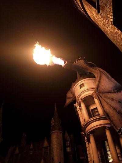 Universal Studios  Universal Universal Studios Orlando Harrypotter Harry Potter Dragon Gringotts Theme Park Fire Firework Display Night Nightphotography Night Photography Fun