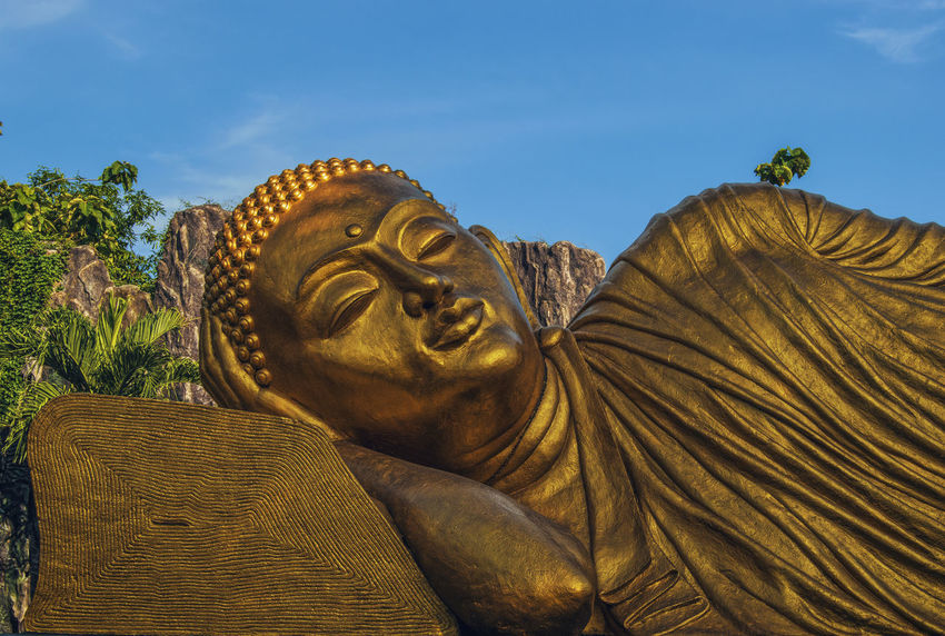 Budha Giant Gold Pray Statue Travel Trowulan Destination Majapahit Mojokerto No People Outdoors Religion Sleeping Statue Tourism Vihara