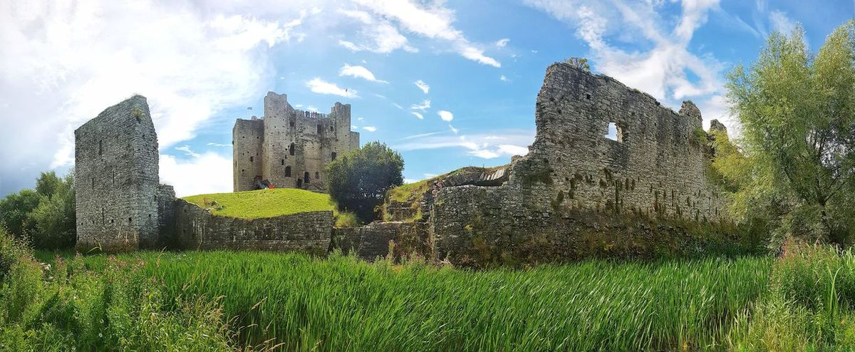 Trim Castle, Ireland. Moat Castle Walls Castle Trim Castle Ireland Panorama Panaramic Fortress Broken Wall Reeds Long Grass HDR Trim County Meath Green Color Outdoors Growth Day No People Sky Grass Nature